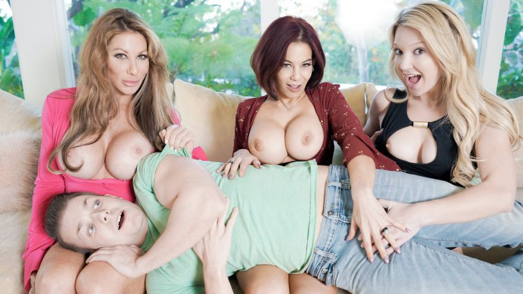 Bad Milfs Farrah Dahl, Ryder Skye, and Laura Bently in The More BadMILFs the Better 3